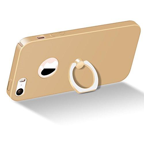 Meimeiwu Alta Qualità Ultra Sottile Leggera [Morbido tocco] Antiscivolo Duro PC Shell Slim Custodia Per iPhone 5 5S SE - Nero Oro