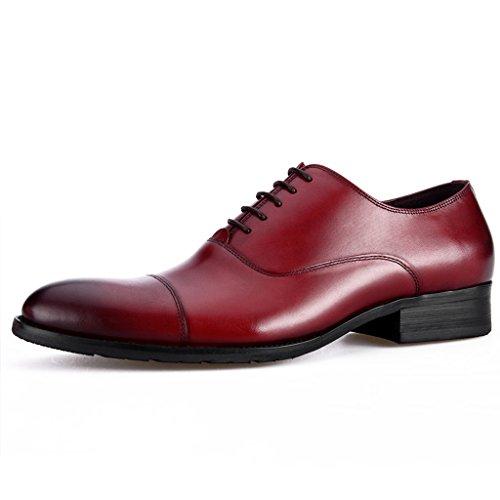 Scarpe Uomo in Pelle Scarpe in pelle uomini di stile europeo Abiti formali-Hand cucitura affari a punta stile britannico ( Colore : Caffe'colore , dimensioni : EU39/UK6 ) Vino Rosso