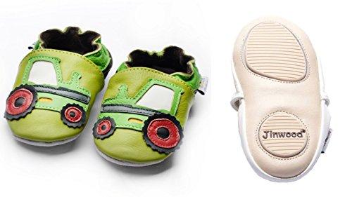 Jinwood designed by amsomo - Jungen - Maedchen - Hausschuhe - ECHT LEDER - Lederpuschen - Krabbelschuhe - soft sole / mini shoes div. Groeßen tractor green mini shoes