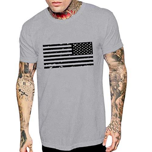 friendGG_Top Mode Für Männer Casual Sommer Flag Print Oansatz T-Shirt Männer Rundkragen Tops Dünne Kurzarmshirts T-Shirts Kleidung Bluse Tank Weste T-Shirt Slim-Fit Super Premium Soft -