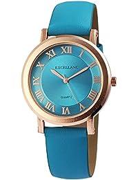 2d0b09911b5f Reloj mujer turquesa oro números romanos Analógico de Cuarzo Piel Reloj ...