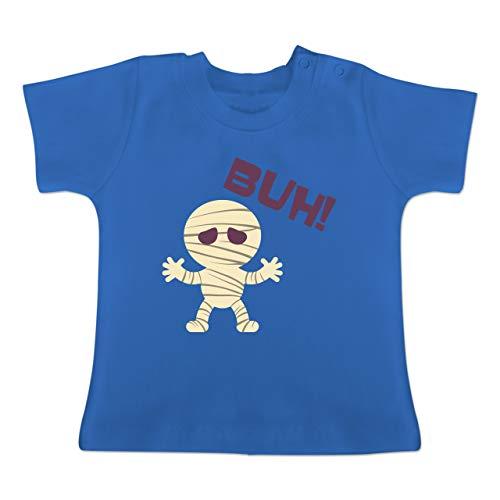 Anlässe Baby - Mumie Buh süß - 1-3 Monate - Royalblau - BZ02 - Baby T-Shirt Kurzarm (Pt Halloween 1 2019)