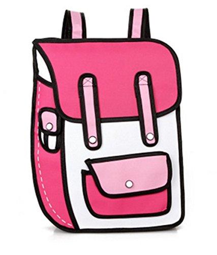 Genius _ Baby 3D Jump Style 2D Zeichnung von Cartoon Paper Bag Comic 3D Schultern Tasche Rucksack, rosarot