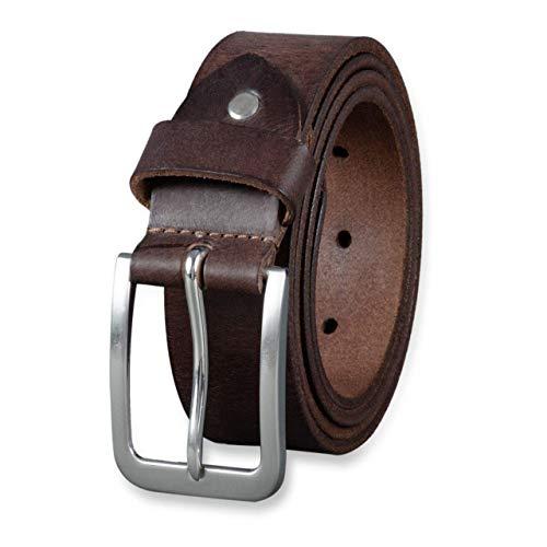 Stilord cintura uomo vera pelle vintage elegante fibbia accorciabile in cuoio da 34 mm, dimensione:130, colore:cresto - marrone| fibbia spazzolato - argento