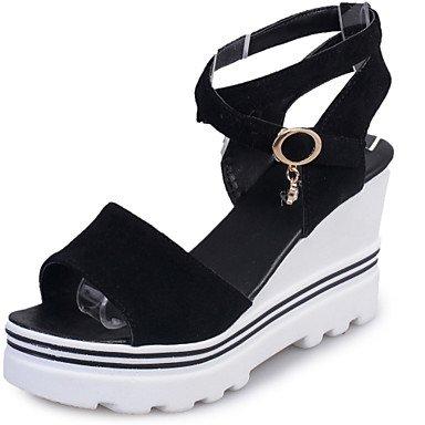 LvYuan Damen-Sandalen-Büro Kleid Party & Festivität-Wildleder-Keilabsatz-Komfort-Schwarz Weiß Burgund Black