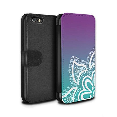 STUFF4 PU-Leder Hülle/Case/Tasche/Cover für Apple iPhone 4/4S / Leuchtende Sterne Muster / Ombre Muster Kollektion Weiß Henna-Tattoo