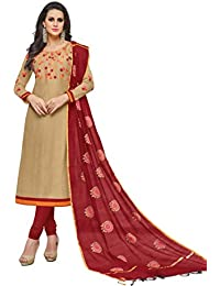 086ef90013 Women s Unstitched Cotton blend Salwar Suit Dupatta Material - Tortilla  Brown