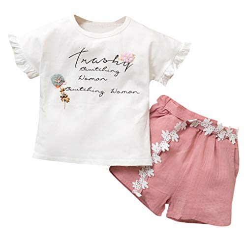 JUTOO Sommer 2 Stücke Set Kleinkind Baby Mädchen Kurzarm Brief Print Tops + Floral Shorts Outfits ()