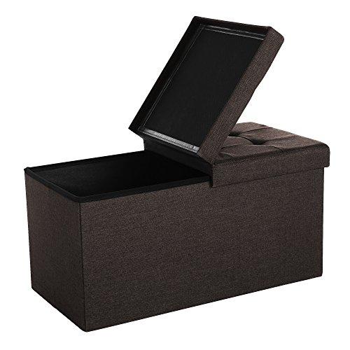 SONGMICS Sitzhocker Sitzbank mit Stauraum faltbar 2-Sitzer belastbar bis 300 kg Schokoladenbraun 76...