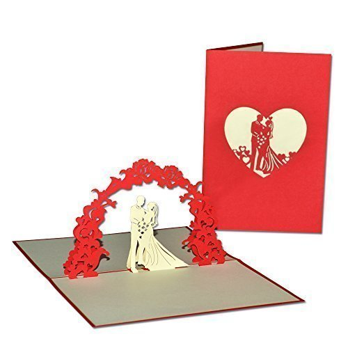Biglietto Auguri Matrimonio Pop Up : Lin biglietto d auguri per matrimonio con sposini e arco