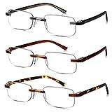 Read Optics Tres Pares Gafas de lectura color mezclado: para hombres / mujeres Diseño sin montura Lente transparente Antideslumbrante Lectores ligeros, delgados y livianos en policarbonato flexible. Calidad óptica +1.5, +2, +2.5