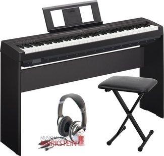 YAMAHA P DE 45SPAR JUEGO DE STAGE PIANO + L DE SOPORTE DE 85  BANCO Y AURICULARES ESTEREO