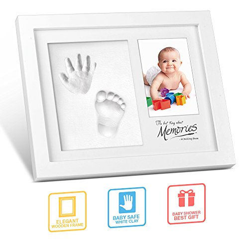 Hand and Footprint Kit, multifun DIY Baby Keepsake Photo Frame for Newborn Boys and Girls, Perfect Baby Shower Gifts for Registry, Memorable Clay Casting Kit Decor for Room Wall or Table