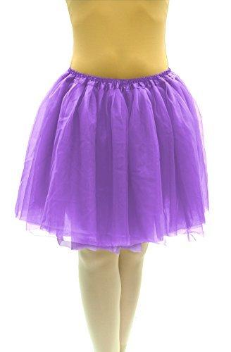 Dancina Damen Tutu Karneval Fasching Kostüm Tüllrock [Sticker L] Violett Gr. 36-40 (Lila Tutu)