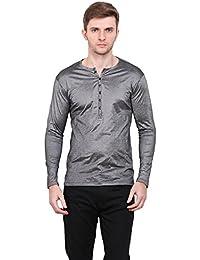 LE BOURGEOIS Shine black color v-neck full sleeve polyster men's t-shirt