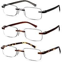 Read Optics Tres Pares Gafas de lectura color mezclado  para hombres    mujeres Diseño sin montura Lente transparente. 3f4c3b17c78e