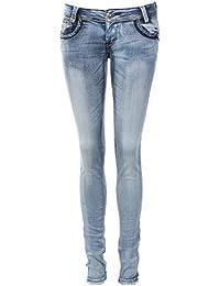 Jeans slim délavé ornés de petit clous