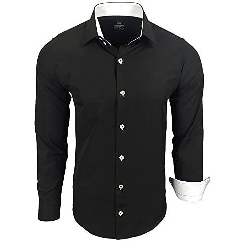 Herren Hemd Hemden Business Hochzeit Freizeit Slim Fit S M L XL XXL 44, Farbe:Schwarz / Weiß, Größe:3XL