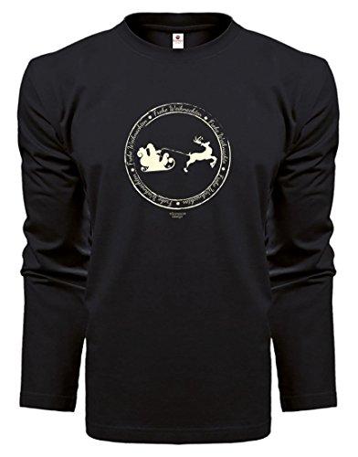 Herren Langarmshirt - Top Geschenk - Farbe: Schwarz - Motiv: Frohe Weihnachten Schlitten Schwarz