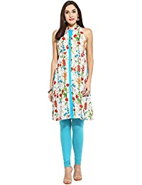 Mytri Women Turq & White Printed Cambric Flared Kurta