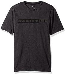 Oakley Mens Tee, Blackout LT HTR, Large