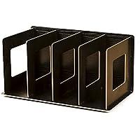Mecotech Organizador de Escritorio 4 Compartimentos Multiusos Escritorio Documento Organizador Madera de Almacenamiento en Rack Bandeja Display para la Oficina en el Hogar 30.5 * 15 * 17 cm (Negro)