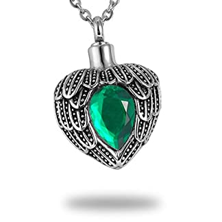 HooAMI Cremation Jewellery Stainless Steel Angel Wing Birthstone Heart Urns Necklace for Ashes Memorial Keepsake Pendant 41hK0WUKJAL