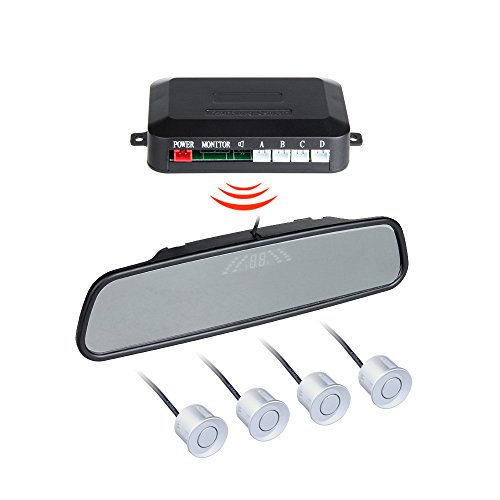 BINODA Auto Parksensoren mit 4 Sensor Auto Backup Reverse Radar Rearview Monitor Sound Alarm Set Sensor (Color : Silver) (Reverse-led-sensor Grau)