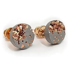 Concrete Jungle® Ohrstecker Grey Rosé   Echtschmuck   925 Silber 18kt Rosegold nickelfrei   High-Tech-Beton mit Kupfer veredelt