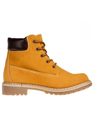 CASPAR SBO065 Boots style randonnée doublées pour femme Camel