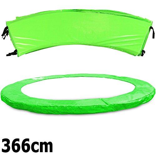 Premium Federabdeckung neongrün 183- 244- 305- 366- 396- 427- 457- 488 cm für Trampolin Randabdeckung PVC - UV beständig (366)