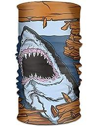bd0142ad40 ERCGY Womens Men's Turban Wild Fish Breaking Wooden Plank Danger Sign  Killer Creature Fun Illustration Campus