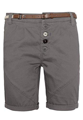 Sublevel Damen Chino-Shorts mit Flecht-Gürtel I Leichte Bermuda I Kurze Hose in Schwarz, Weiß, Grau & Rosé dark-grey M