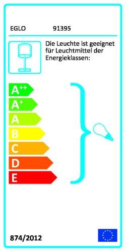 Eglo 91395 Modelo Chicco 1 - Lámpara de mesa (pantalla de tela blanca con orificios, interruptor de cordel, E27, 60 W, 37,5 cm de altura, 16 cm de diámetro, acero), color cromo