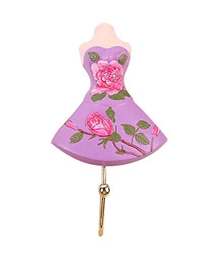 Rétro Creative Crochets décoratifs en forme de robe jupe et crochets Violet