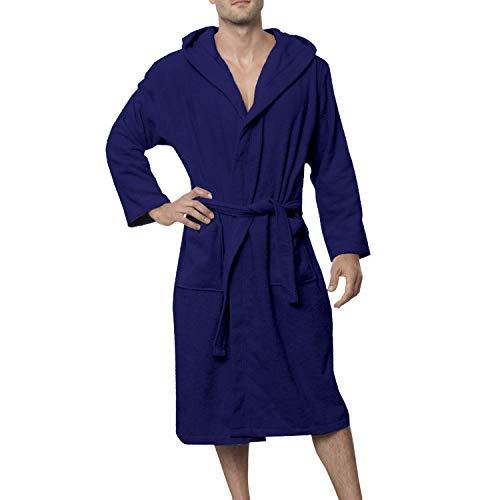 Twinzen Bata Hombre, Albornoz baño XXL, Azul Oscuro