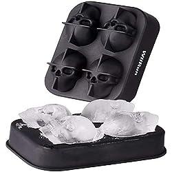 DIDA - Molde de silicona para cubitos de hielo con tapa, diseño de calavera 3D, apto para zumo, gelatina, chocolate, whisky hielo, cócteles, cócteles