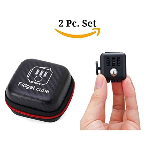 Fidget Cube With Case Desk Toy Set Clicker Joystick Buttons For Stress Anxiety Focus ADHD Autism Adults Kids Students Office Gift Pack (9#Black)