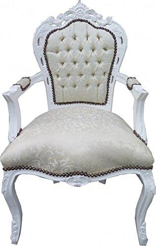 Casa Padrino Barock Esszimmer Stuhl mit Armlehnen Weiss Muster/Weiß - Antik Möbel - Limited...