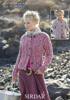 Sirdar Connemara Chunky Ladies and Girls Cabled Cardigans Pattern 9382 61-117 cm (24-46 ins) (Cabled Cardigan)