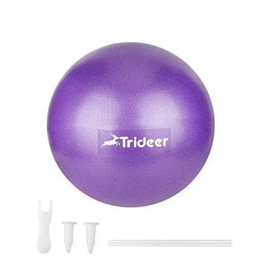 Trideer Mini Pilates Ball Aufblasen Röhrchens, Für Fitness, Reha, Rückentraining und Coordination (Lila, 25cm)