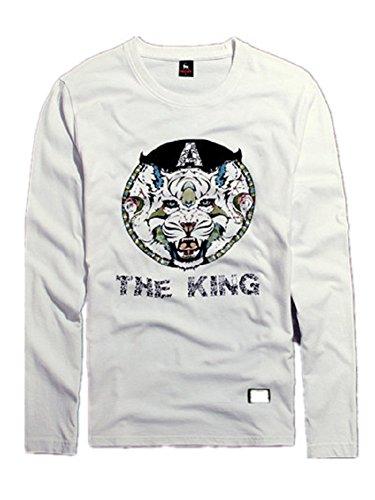 BOMOVO Herren-Baumwolle Rundhals Longsleeve Langarmshirt T-Shirt Weiß