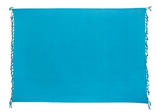Premium Sarong Pareo Wickelrock Strandtuch Lunghi Dhoti Schlicht Blickdicht Marine Blau Türkis PT