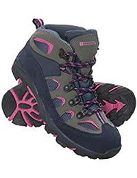Mountain Warehouse Botas de montaña Oscar para niños - Botas de correr de ante para niños, agarre firme, zapatos de verano, suela robusta, zapatillas blandas