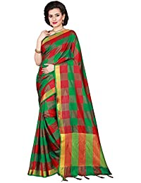 Varayu Women's Poly Silk Woven Checks Pattern Saree With Unstitched Blouse Piece