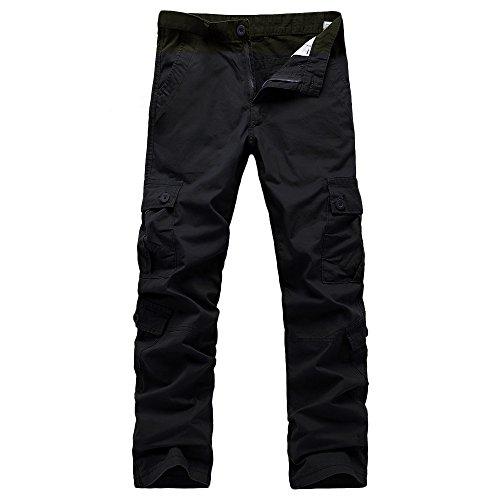 Hmeng Herren Workout Running Pants Lässige Sporting Pant mit Reißverschlusstaschen und Knöcheln (Schwarz, 31)
