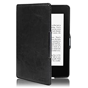 Swees Kindle Paperwhite Case Ultra Slim Cover for All-New Kindle Paperwhite 2015 300 PPI 3rd gen / 2014 / 2013 / 2012 with Magnetic Auto Sleep Wake Function, Including Screen Protector [Lifetime Warranty] - Black