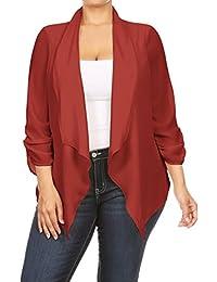 2LUV Women's Plus Size Loose-Fitting Open-Front Asymmetrical Blazer Burgundy 1XL (GJ8261)