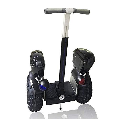 TIANQING Elektrisches Zweirad-Ausgleichsauto, intelligenter Roller mit Stützstange Erwachsenes Offroad-Zweirad-Patrouillen-Ausgleichsauto, 2500W Brushless Toothed Dual Motor,Black