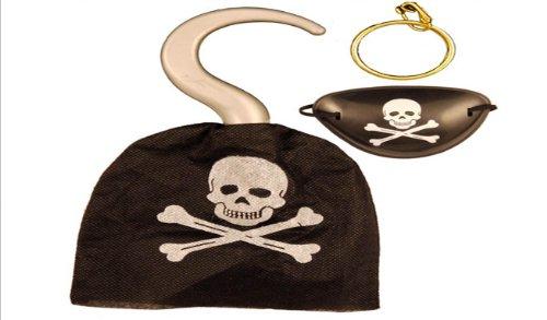 Captain Jack Piraten Augenklappe, Haken und Ohrring. Kostüm Zubehör Set